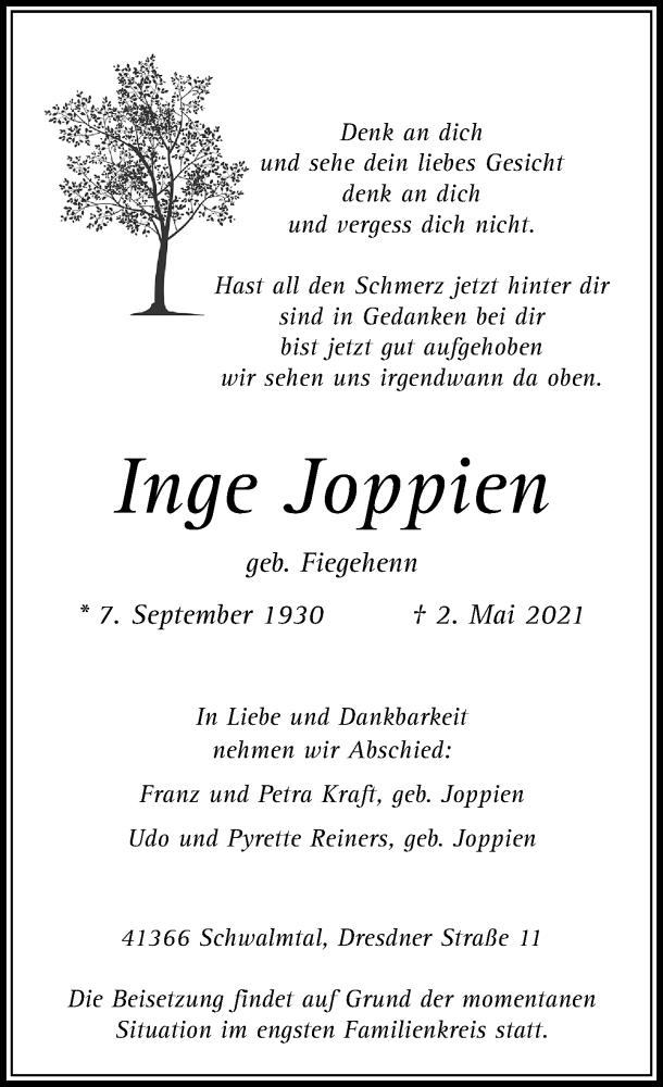 Traueranzeige für Inge Joppien vom 05.05.2021 aus Rheinische Post