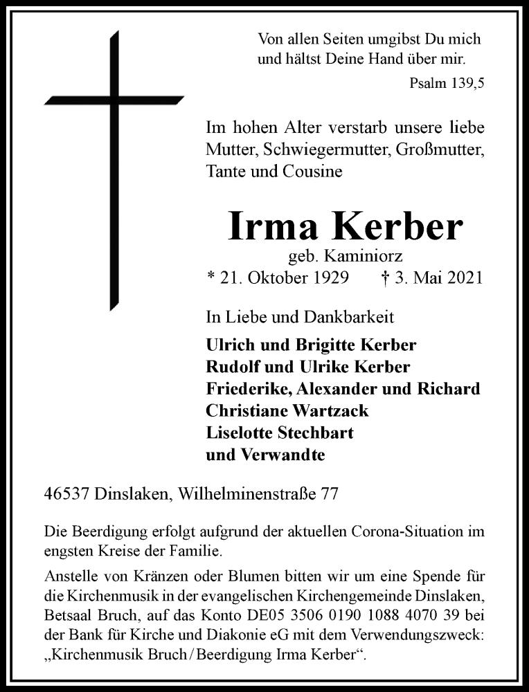 Traueranzeige für Irma Kerber vom 08.05.2021 aus Rheinische Post