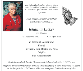 Traueranzeige von Johanna Eicker von Rheinische Post