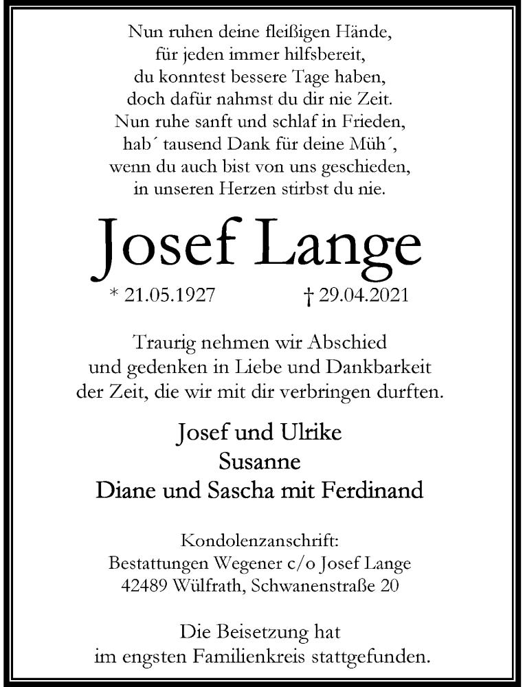 Traueranzeige für Josef Lange vom 08.05.2021 aus Rheinische Post