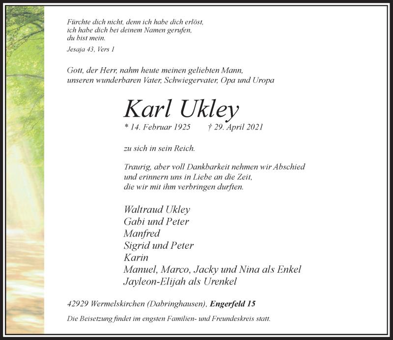 Traueranzeige für Karl Ukley vom 04.05.2021 aus Rheinische Post