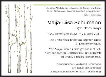 Traueranzeige von Maija-Liisa Schumann von Rheinische Post
