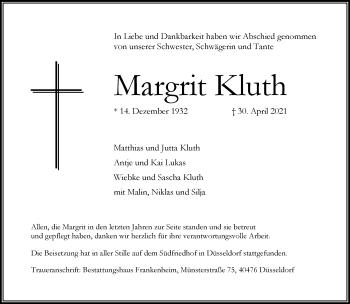 Traueranzeige von Margrit Kluth von Rheinische Post