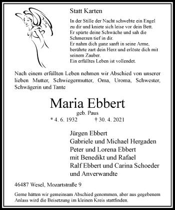 Traueranzeige von Maria Ebbert von Rheinische Post