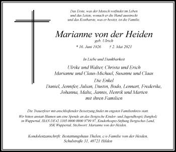 Traueranzeige von Marianne von der Heiden von Rheinische Post