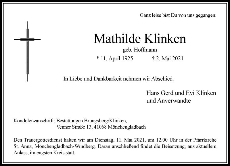 Traueranzeige für Mathilde Klinken vom 08.05.2021 aus Rheinische Post