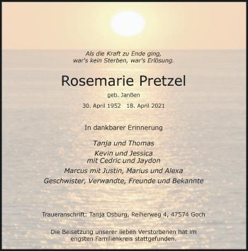 Traueranzeige von Rosemarie Pretzel von Rheinische Post