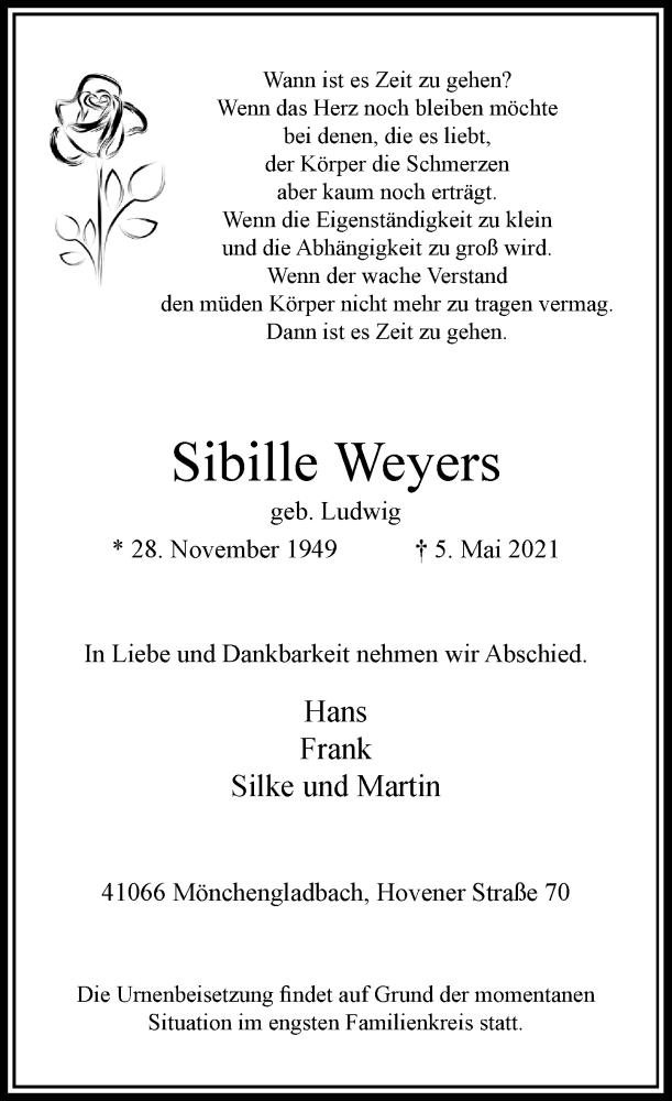 Traueranzeige für Sibille Weyers vom 08.05.2021 aus Rheinische Post