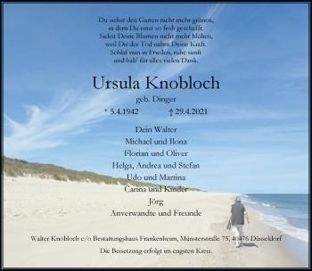 Traueranzeige von Ursula Knobloch von Rheinische Post