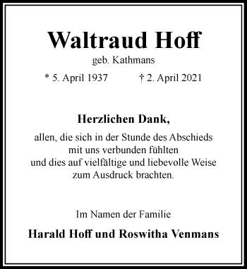 Traueranzeige von Waltraud Hoff von Rheinische Post