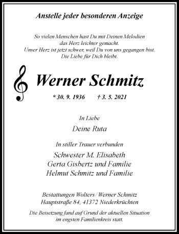 Traueranzeige von Werner Schmitz von Rheinische Post