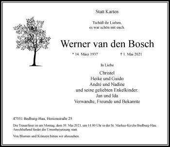 Traueranzeige von Werner van den Bosch von Rheinische Post