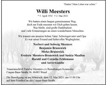 Traueranzeige von Willi Meesters von Rheinische Post