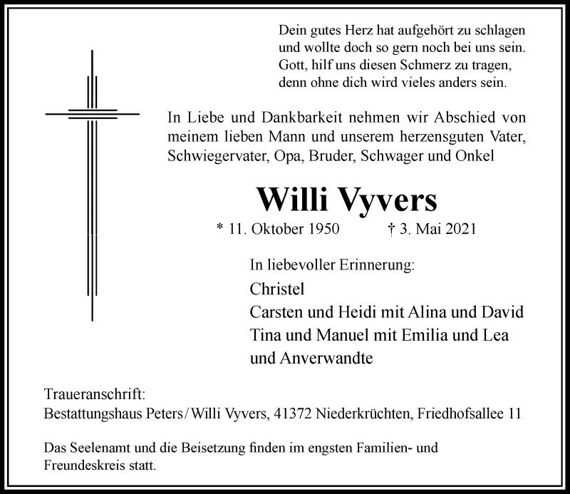 Traueranzeige für Willi Vyvers vom 08.05.2021 aus Rheinische Post