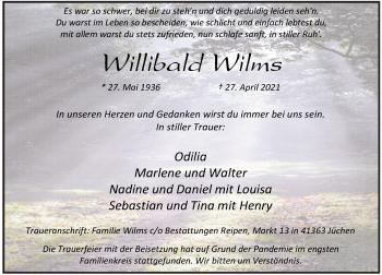 Traueranzeige von Willibald Wilms von Rheinische Post