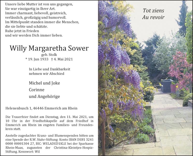 Traueranzeige für Willy Margaretha Sower vom 08.05.2021 aus Rheinische Post