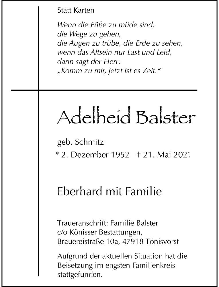 Traueranzeige für Adelheid Balster vom 12.06.2021 aus Rheinische Post