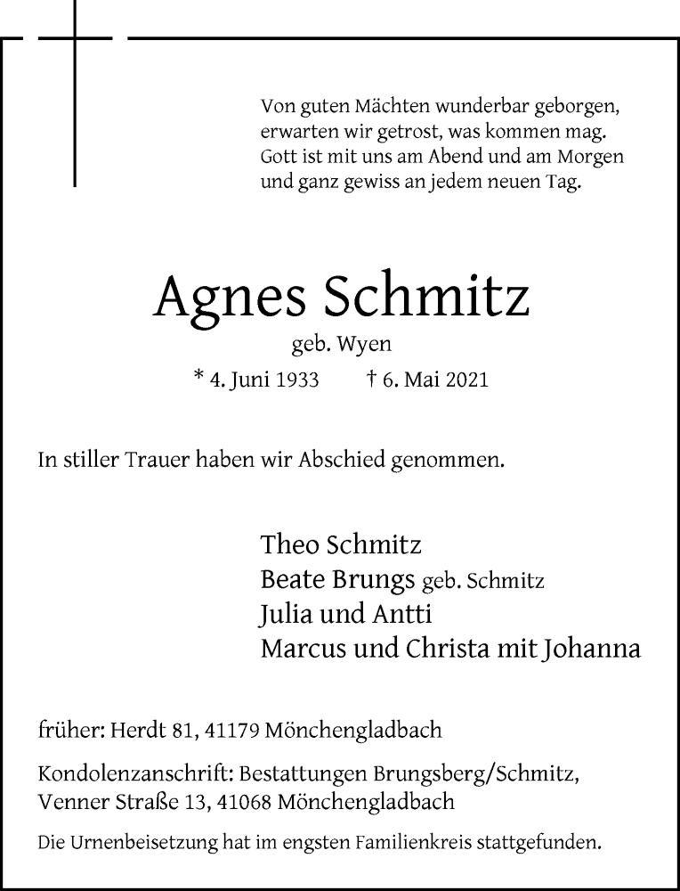 Traueranzeige für Agnes Schmitz vom 22.05.2021 aus Rheinische Post