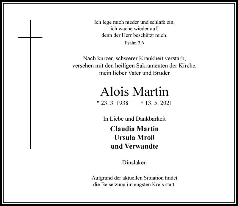 Traueranzeige für Alois Martin vom 19.05.2021 aus Rheinische Post