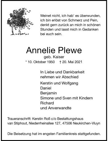 Traueranzeige von Annelie Plewe von Rheinische Post