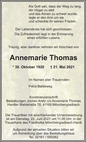Traueranzeige von Annemarie Thomas von Rheinische Post