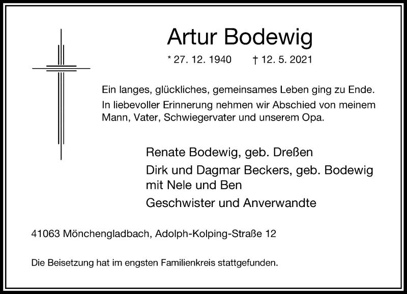 Traueranzeige für Artur Bodewig vom 29.05.2021 aus Rheinische Post