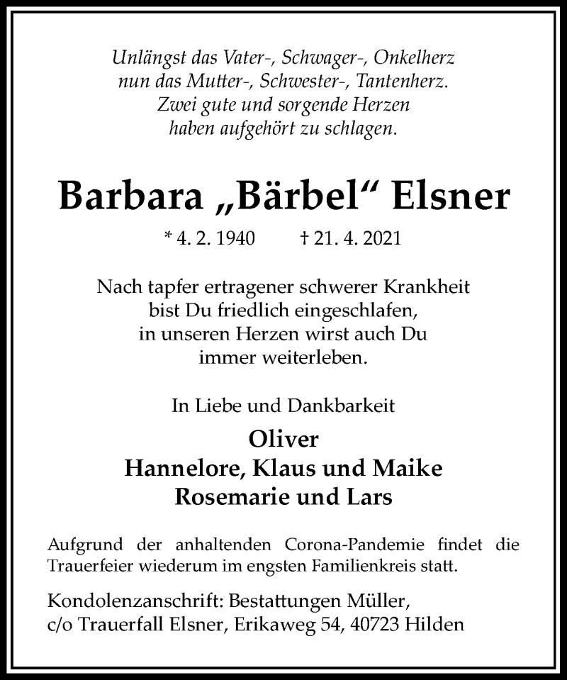 Traueranzeige für Barbara Elsner vom 15.05.2021 aus Rheinische Post