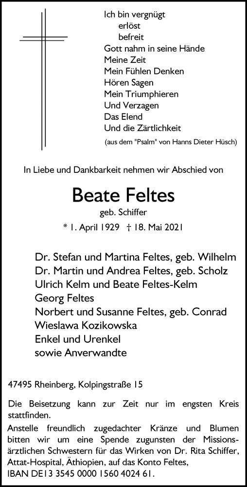 Traueranzeige für Beate Feltes vom 22.05.2021 aus Rheinische Post