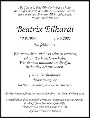 Traueranzeige von Beatrix Eilhardt von Rheinische Post