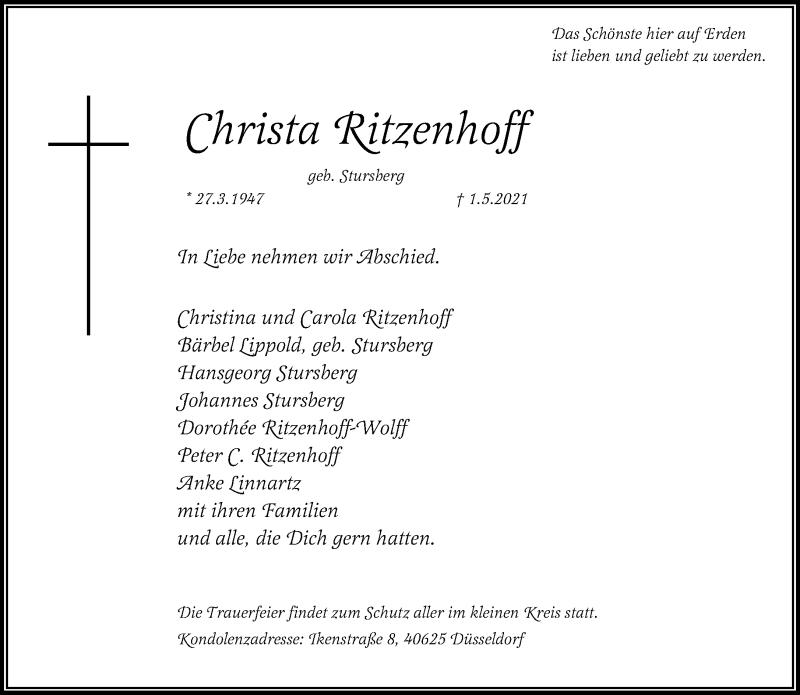 Traueranzeige für Christa Ritzenhoff vom 15.05.2021 aus Rheinische Post