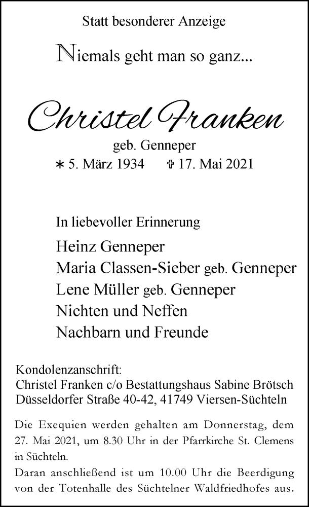 Traueranzeige für Christel Franken vom 22.05.2021 aus Rheinische Post