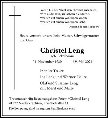 Traueranzeige von Christel Leng von Rheinische Post