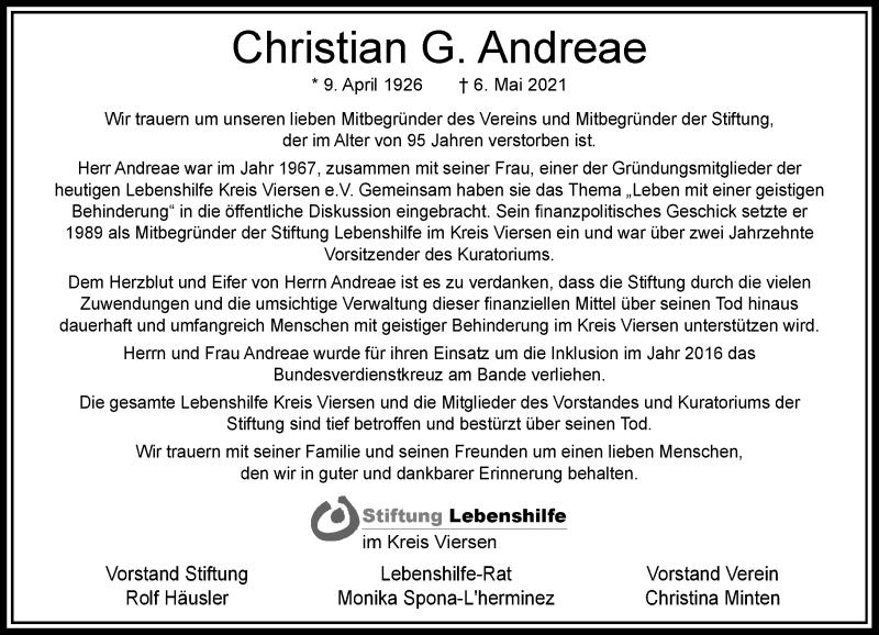 Traueranzeige für Christian G. Andreae vom 15.05.2021 aus Rheinische Post