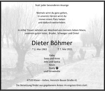 Traueranzeige von Dieter Böhmer von Rheinische Post