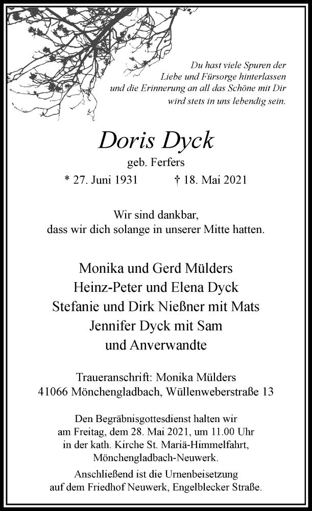 Traueranzeige für Doris Dyck vom 22.05.2021 aus Rheinische Post