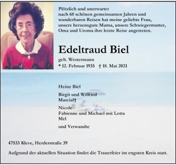 Traueranzeige von Edeltraud Biel von Rheinische Post