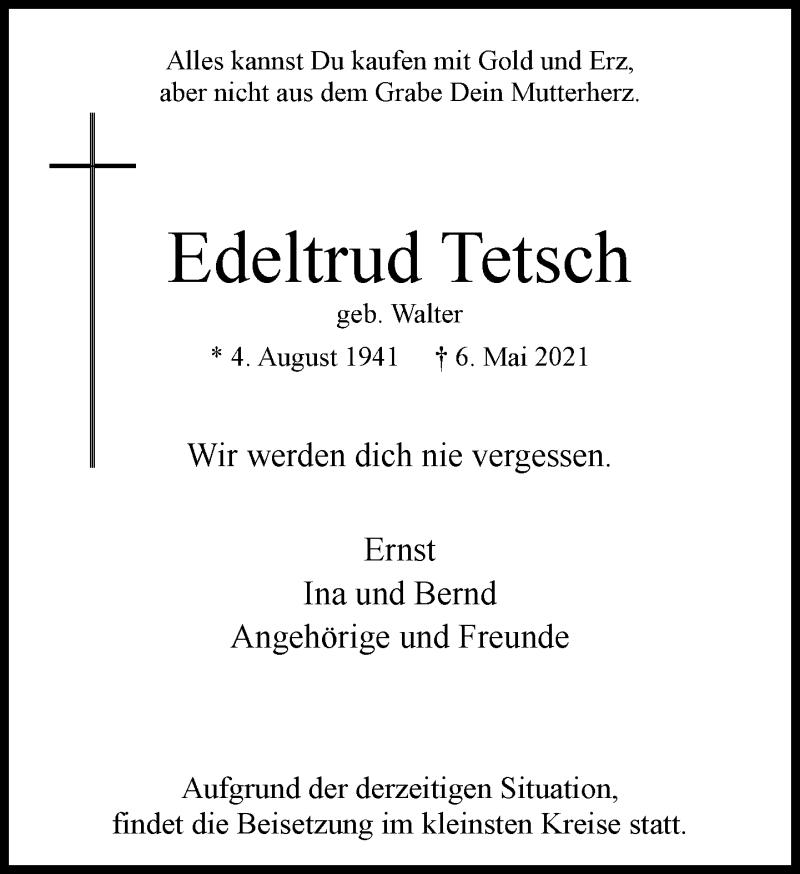 Traueranzeige für Edeltrud Tetsch vom 15.05.2021 aus Rheinische Post