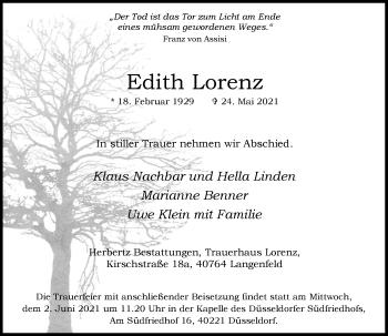 Traueranzeige von Edith Lorenz von Rheinische Post