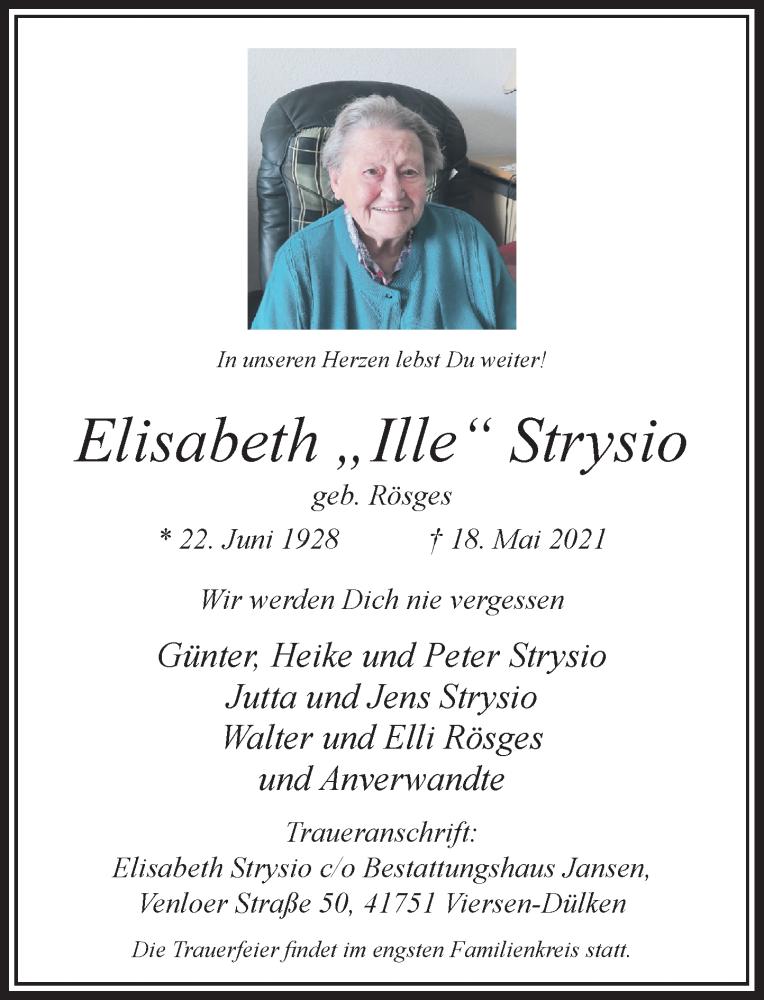 Traueranzeige für Elisabeth Strysio vom 22.05.2021 aus Rheinische Post