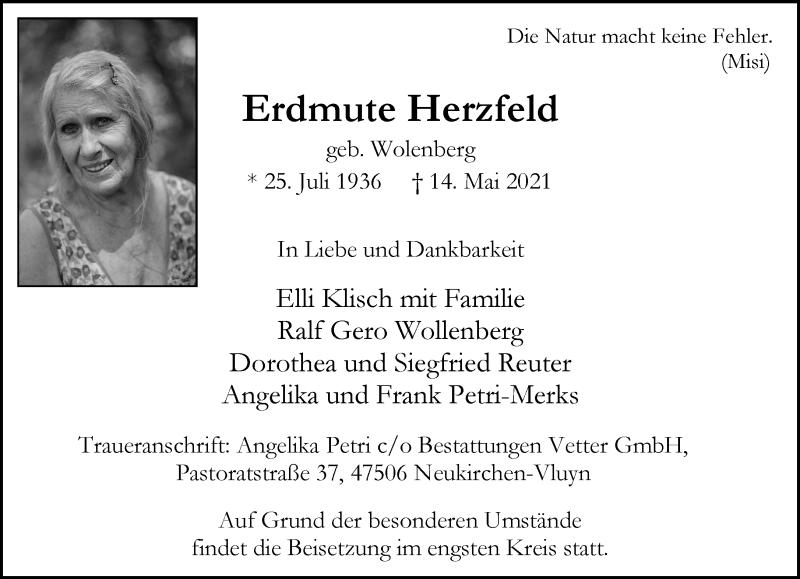 Traueranzeige für Erdmute Herzfeld vom 22.05.2021 aus Rheinische Post