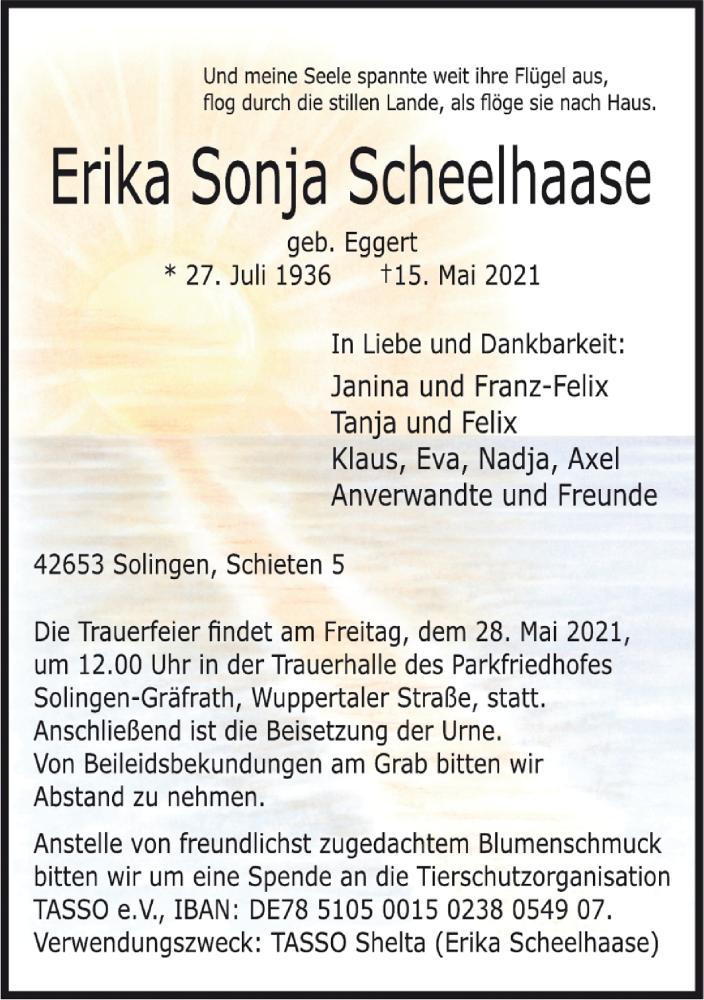 Traueranzeige für Erika Sonja Scheelhaase vom 22.05.2021 aus Rheinische Post