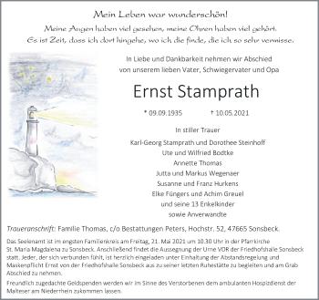 Traueranzeige von Ernst Stamprath von Rheinische Post