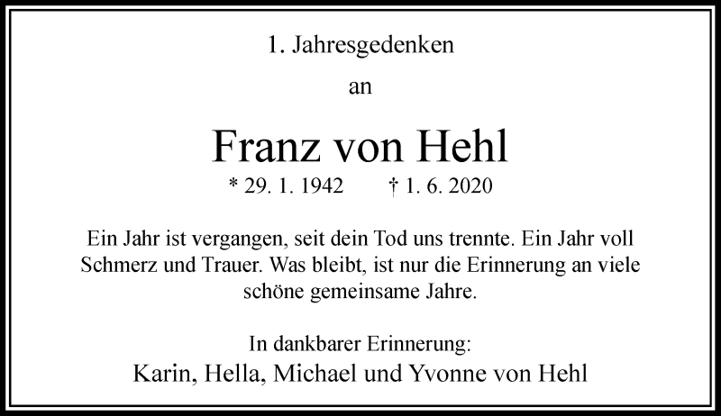 Traueranzeige für Franz von Hehl vom 01.06.2021 aus Rheinische Post