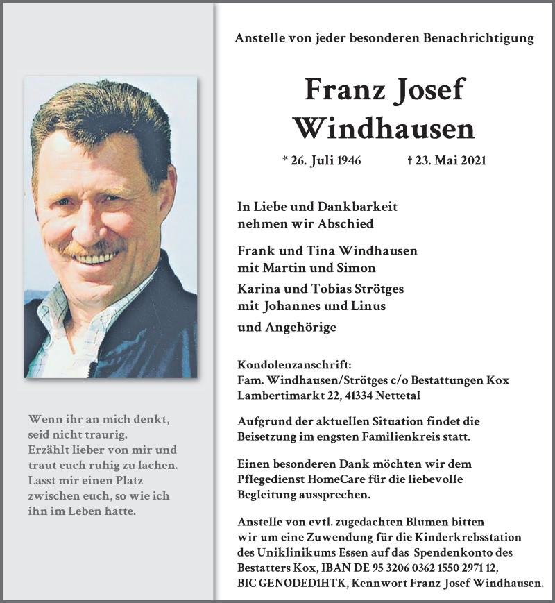Traueranzeige für Franz Josef Windhausen vom 29.05.2021 aus Rheinische Post