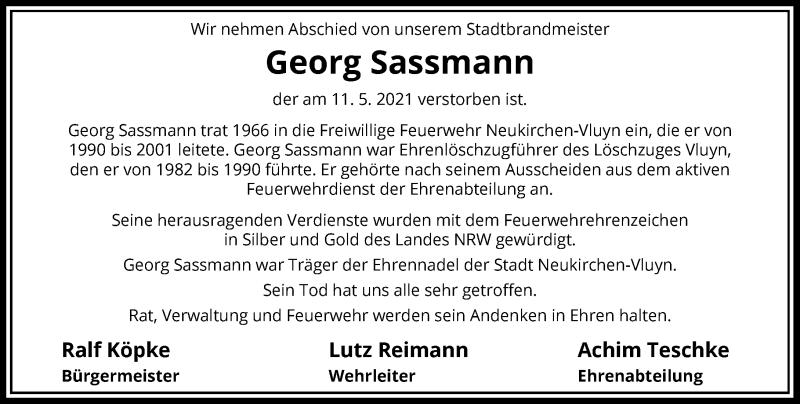 Traueranzeige für Georg Sassmann vom 21.05.2021 aus Rheinische Post