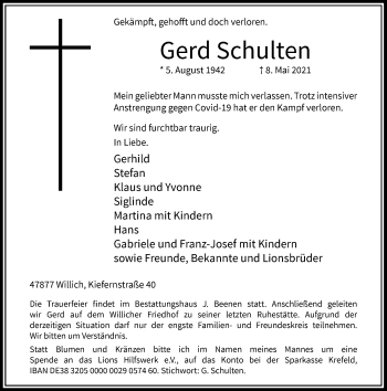 Traueranzeige von Gerd Schulten von Rheinische Post