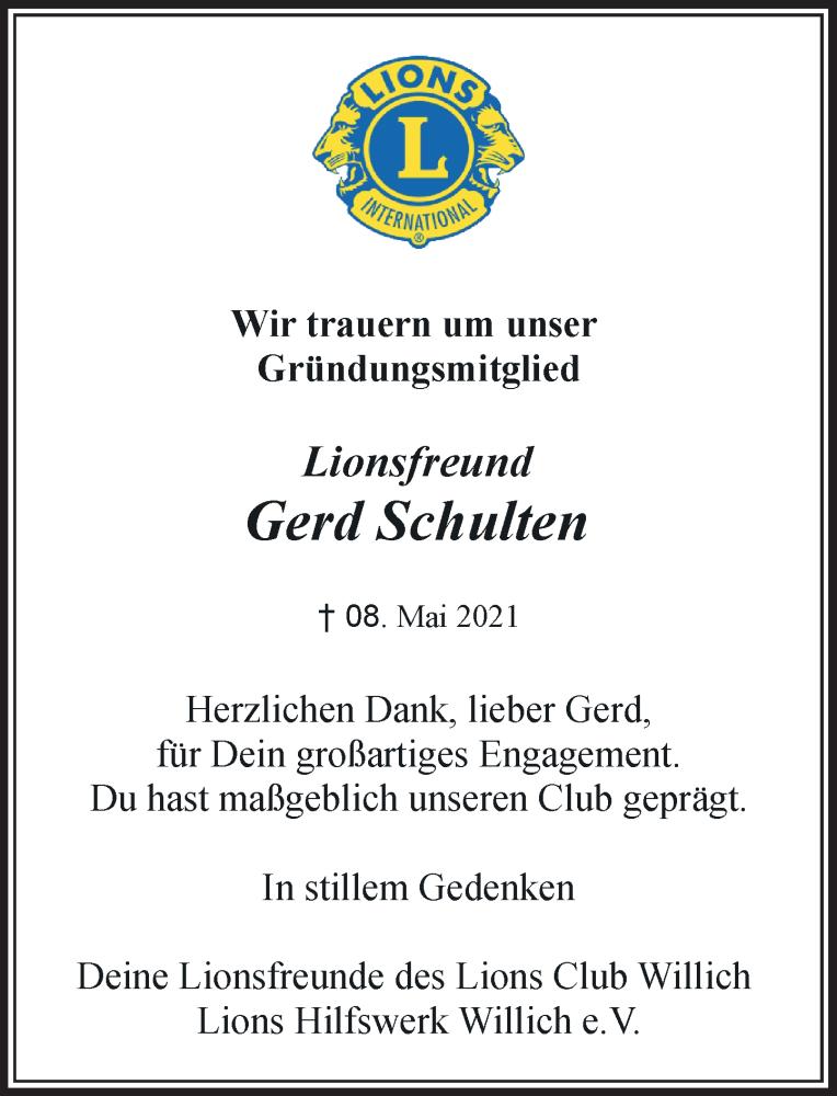 Traueranzeige für Gerd Schulten vom 15.05.2021 aus Rheinische Post