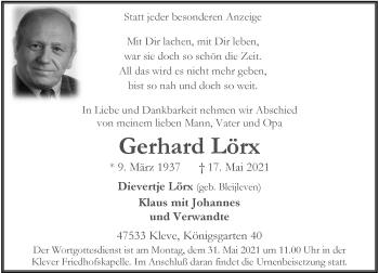 Traueranzeige von Gerhard Lörx von Rheinische Post