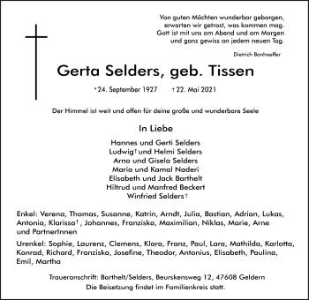 Traueranzeige von Gerta Selders von Rheinische Post