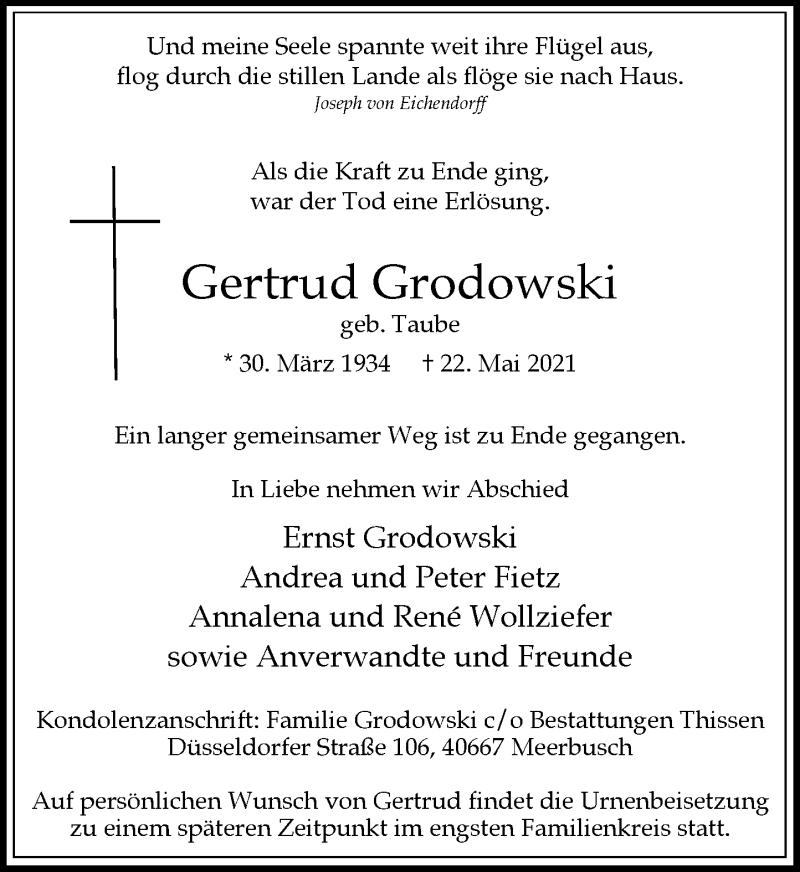 Traueranzeige für Gertrud Grodowski vom 09.06.2021 aus Rheinische Post